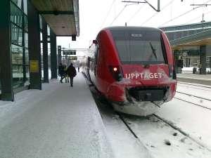 Upptåget, i väntan på avgång från Uppsala