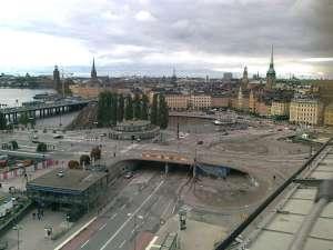 Den klassiska trafikkarusellen vid Slussen - 'Klöverbladet'