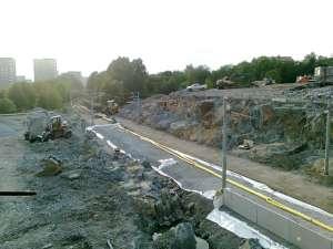 Bortsprängning av berg vid Johanneshovsvägen i Årsta