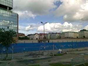 Råsunda fotbollstadion har blivit grusplan