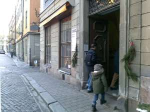 Stadsmissionen med fikamöjlighet vid Stortorget