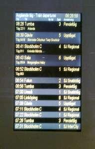 Uppsala C, informationsskylt avgående tåg