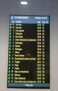 Uppsala C, informationsskylt anslutande stadsbussar