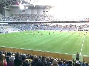 Tele2 Arena strax efter avspark Sverige-Danmark. Sverige anfaller mot vänster