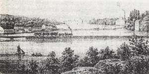 Teckning av järnvägsbron Liljeholmen Södermalm 1869