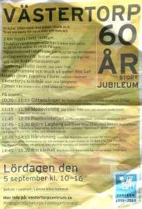 Tidningsannons om firande av Västertorp 60 år