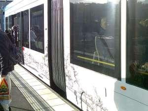 Den speciella Lidingömålningen i närbild på vagn nr 557