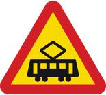 Varning för korsning med spårväg