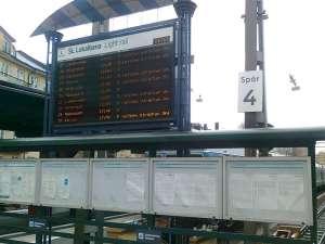 Informationstavla vid Östra station