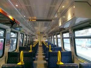 Interiör vagn på Roslagsbanan
