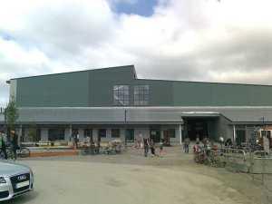 Södra kortsidan av depåbyggnaden