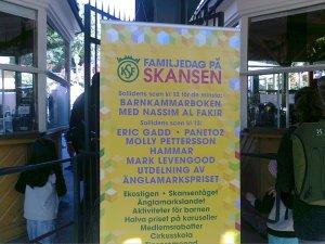 Skylt om Familjedag på Skansen