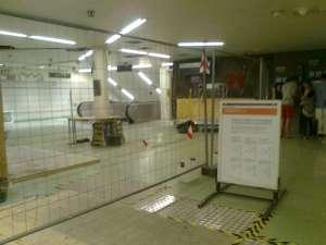 Södra station med södra plattformen avstängd
