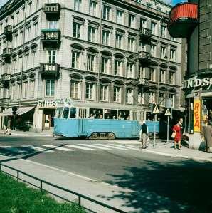 Spårvagn på linje 8 Sibyllegatan söderut 2 september 1967