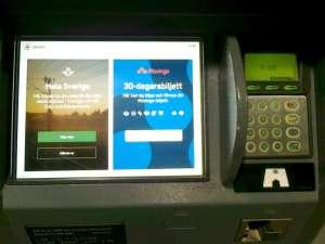 Biljettmaskin val mellan att köpa SJ-biljett eller Movingo-biljett