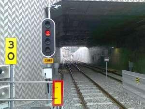 Utfarten från Sickla station i riktning mot Solna station