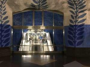 T-Centralen Blå linjen rulltrappor vid västra änden av plattformen