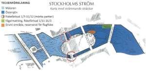 Stockholms ström karta med strömmande sträckor