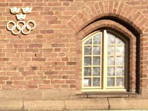 Stockholms stadion Tre kronor och OS-ringarna